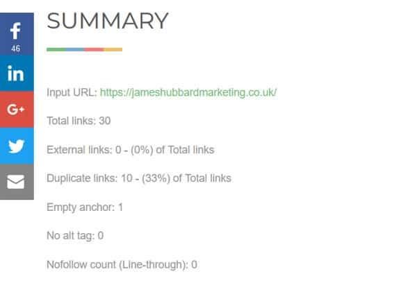 Internal link audit tool