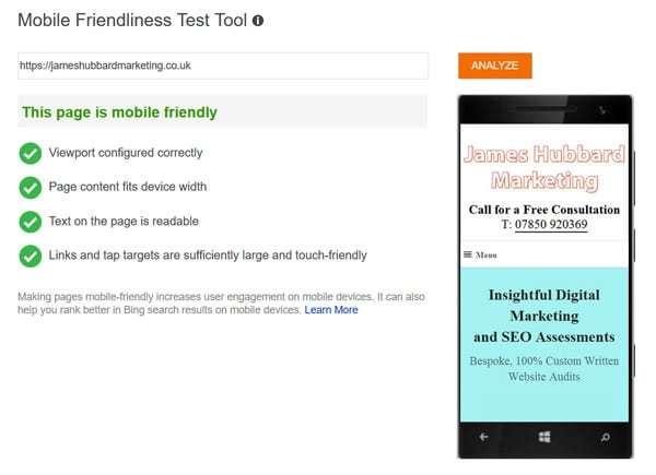 Bing mobile audit results