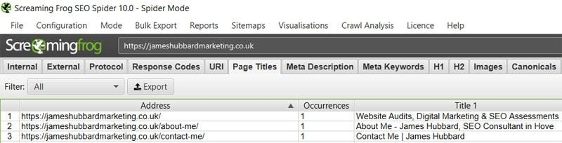 Screaming Frog SEO audit tool output