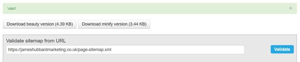 XML validator results