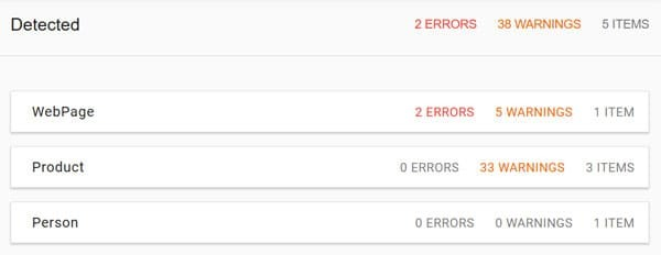 Structured data testing tool errors and warnings